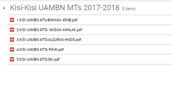 Kisi-Kisi UAMBN PAI & B. Arab MTs 2017/2018