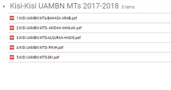 Kisi Kisi Uambn Pai Amp B Arab Mts Tahun 2017 2018 Excel Berkas Sekolah