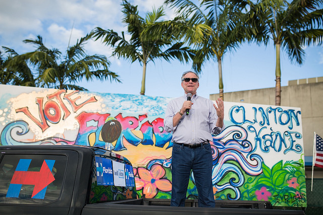 image of Tim Kaine at a Clinton-Kaine campaign event in Florida