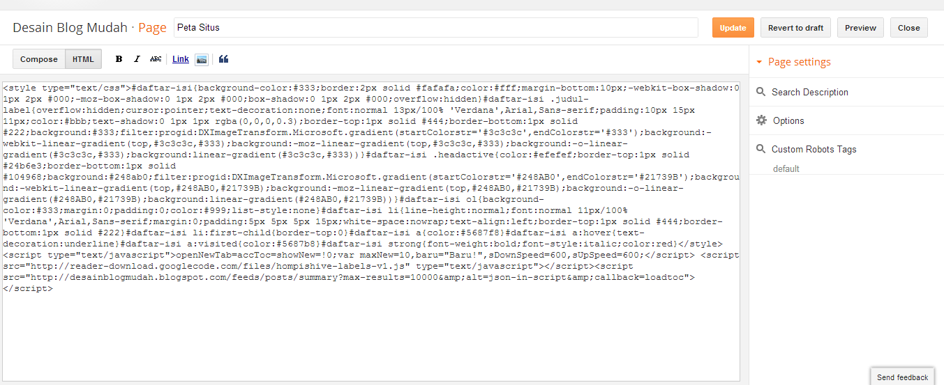 Kode HTML daftar isi akordion berdasar label blogger (blogspot)