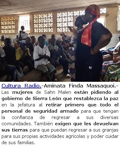 A propósito del 8 de marzo. En ÁFRICA; las mujeres de Malen en Sierra Leona, piden ayuda