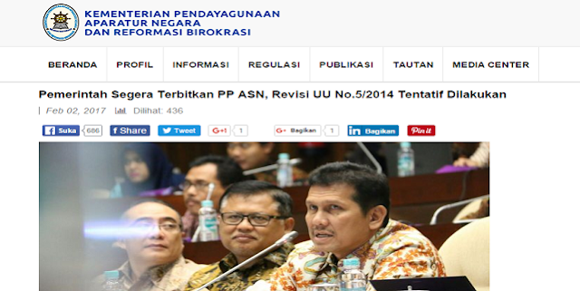 Resmi: Pemerintah Segera Terbitkan PP ASN, Revisi UU No.5/2014