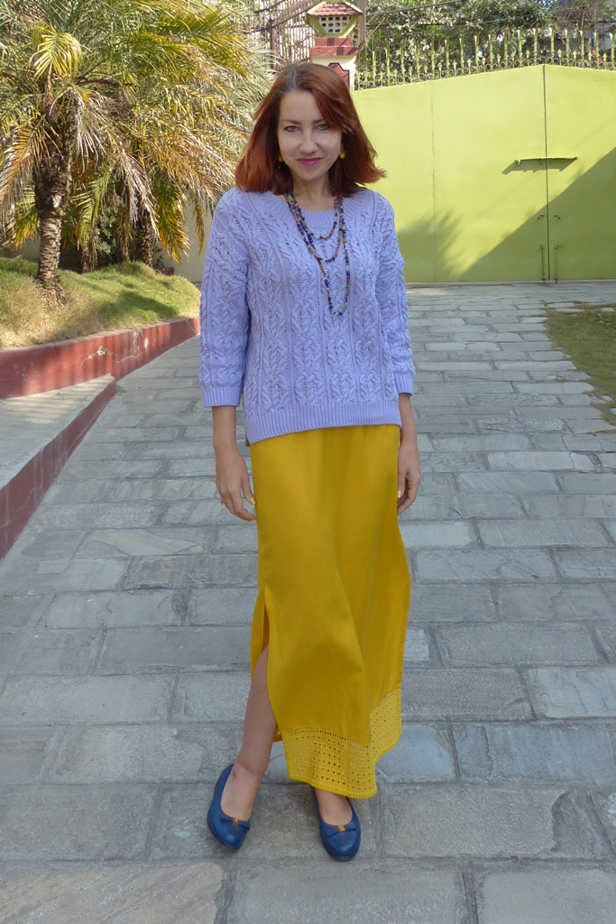 outfit in yellow and lilac