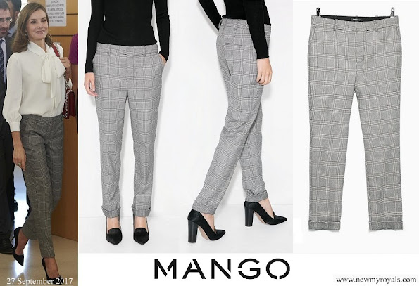 Queen Letizia wore Mango Prince of Wales trousers