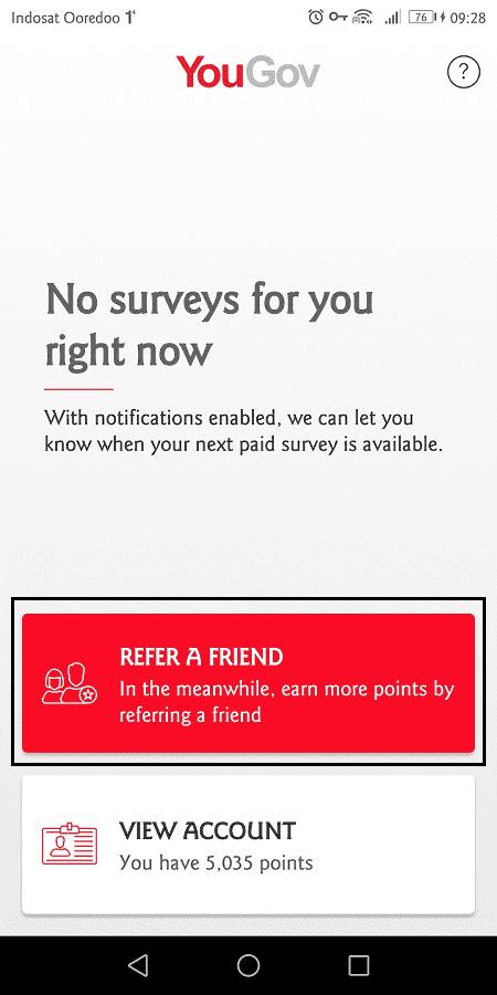 pengguna bisa mengajak orang lain join yougov untuk mendapat poin tambahan