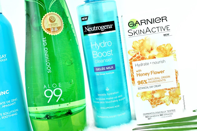 Aloe Soothing Gel, Neutrogena Cleansing Gelee Milk, Garnier Honey Moisturiser