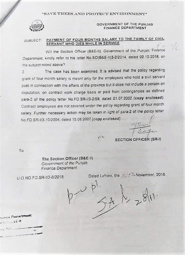 CLARIFICATION REGARDING PAYMENT OF FOUR MONTHS SALARY TO THE FAMILY OF CONTRACT EMPLOYEE / CIVIL SERVANT WHO DIES WHILE IN SERVICE