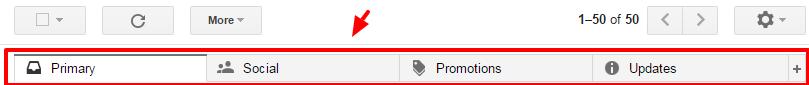 gmail top tab