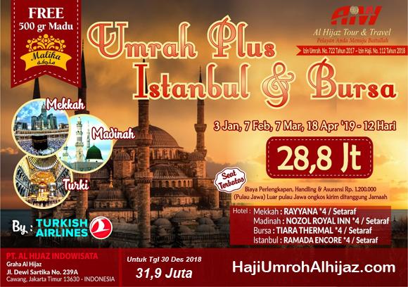 Jadwal Paket Umroh Plus Turki 2019