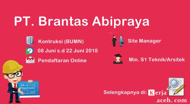 Lowongan Kerja Aceh Terbaru 2018 S1 PT Brantas Abipraya
