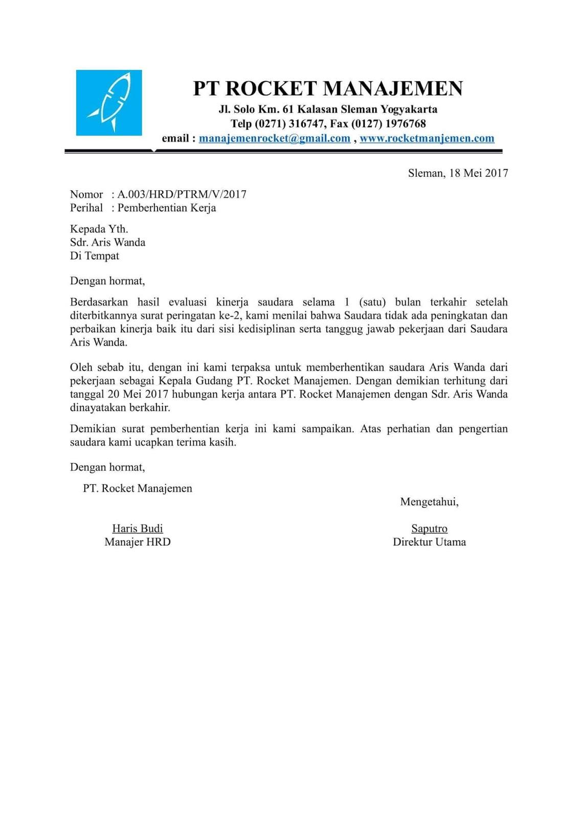 contoh surat phk karena kesalahan karyawan
