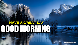 Good Morning text greetings Mountains lake yellowstone national park