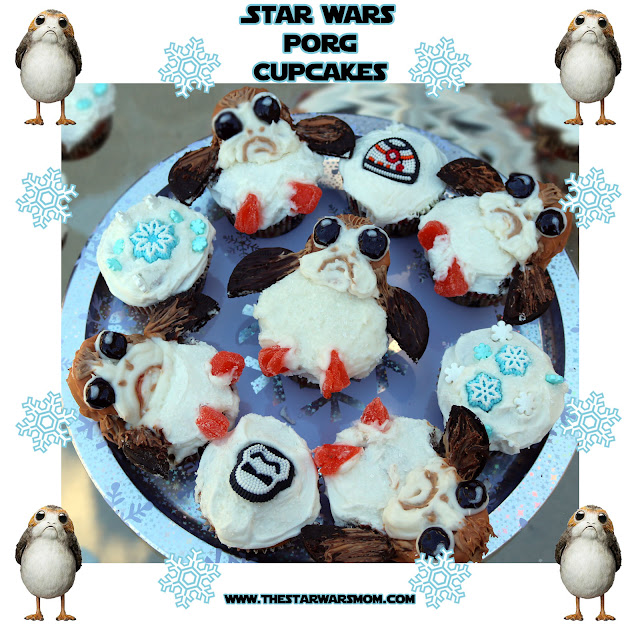 Star Wars Food The Last Jedi Porg Cupcakes Porgs Recipe for Birthdays, Christmas, Hanukkah, or Winter Break.