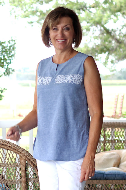 McCall's 7600 top made from Mood Fabrics' chambray and Etsy embroidery design