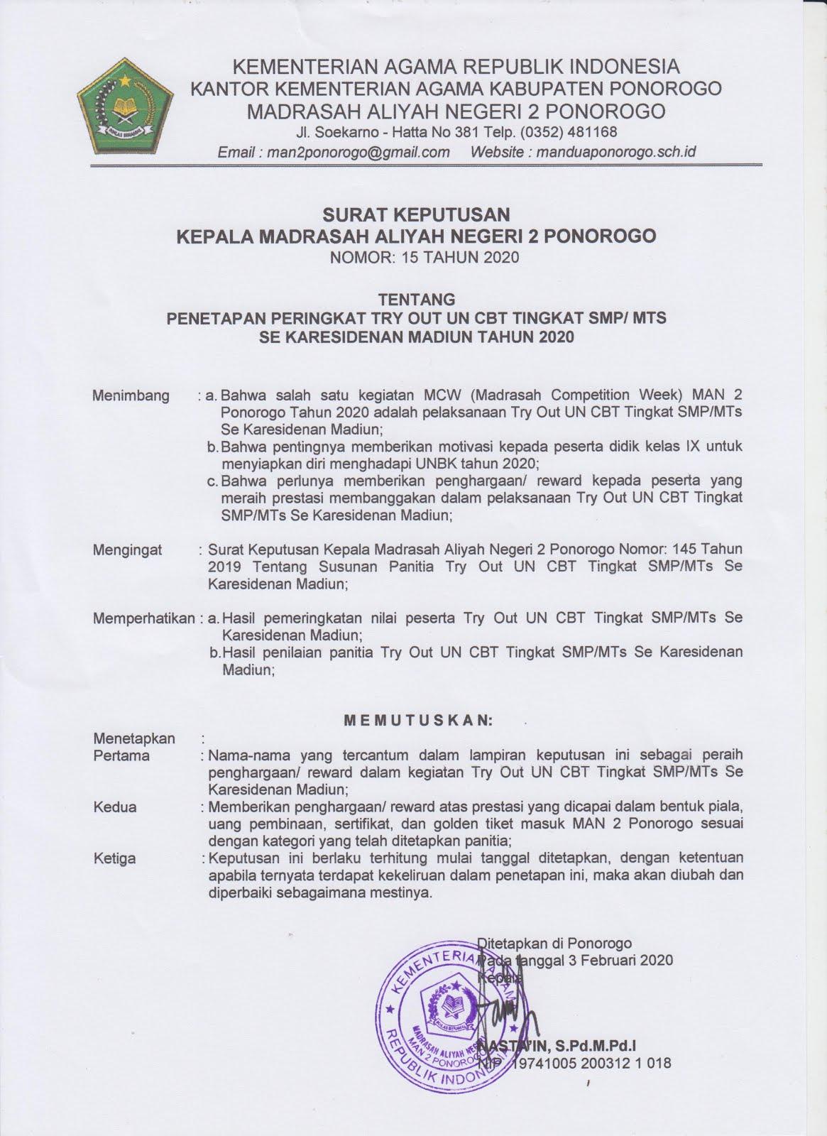 Hasil Tryout UN CBT Tingkat SMP/MTs Se-Karesidenan Madiun