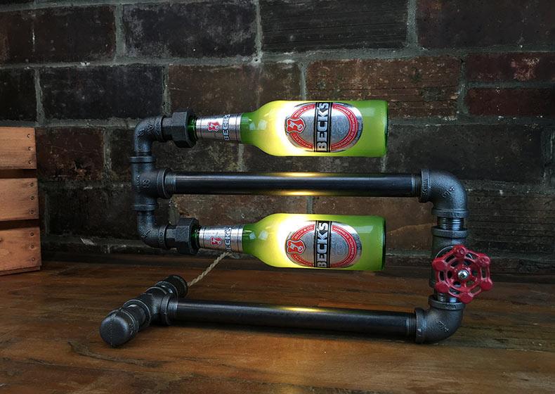 Lámpara industrial de botellas de cerveza