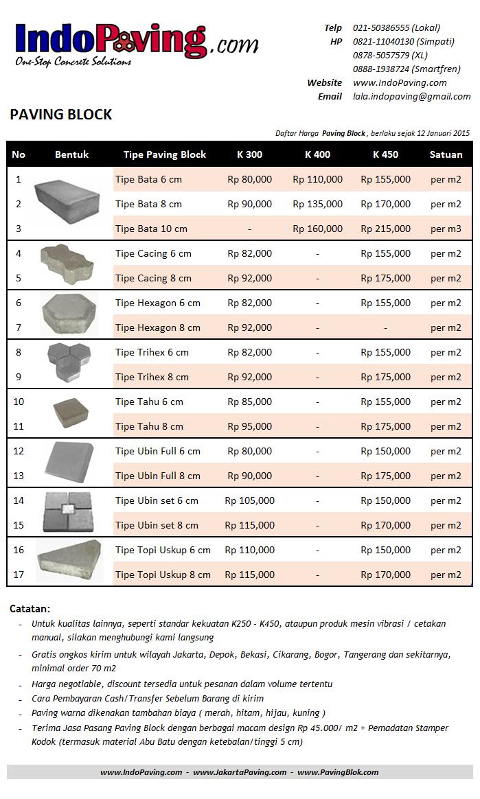 Daftar harga jual pabrik paving block / conblock