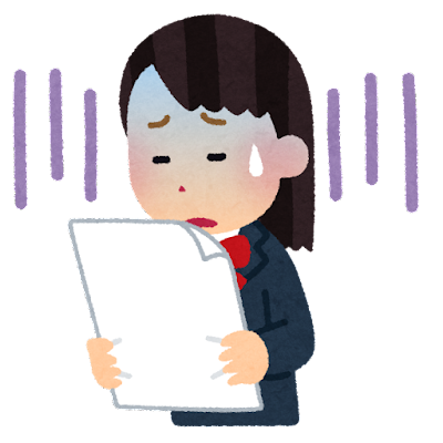 テストを見て落ち込む生徒のイラスト(女子学生)