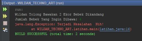 Penggunaan Exception Handling Throw pada Java