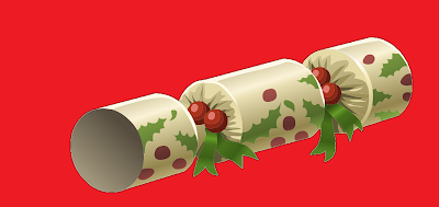 A bright Christmas Cracker decorated with holly and candy canes set against a red background.