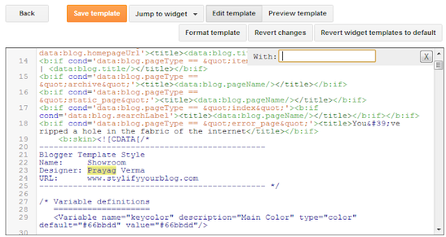 Replace function in Blogger Template Editor