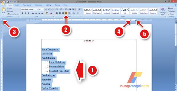 Cara Membuat Daftar Isi dengan Titiktitik Otomatis di