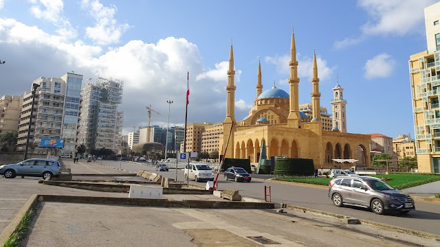 Surrounded by modern and new buildings in Beirut