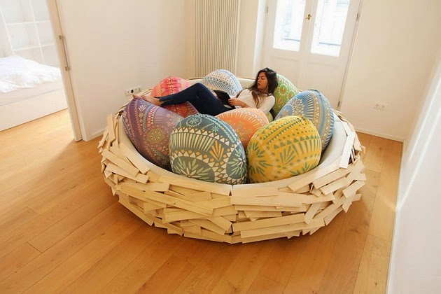 giant birdsnest, modern wooden bed