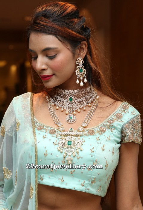 Neha Guptha in Diamond Choker Long Set