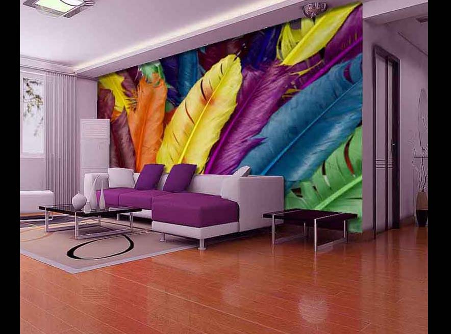 Delightful Living Room 3D Wallpaper Designs For Walls Behind Sofa Set