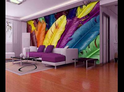 living room 3D wallpaper designs for walls behind sofa set