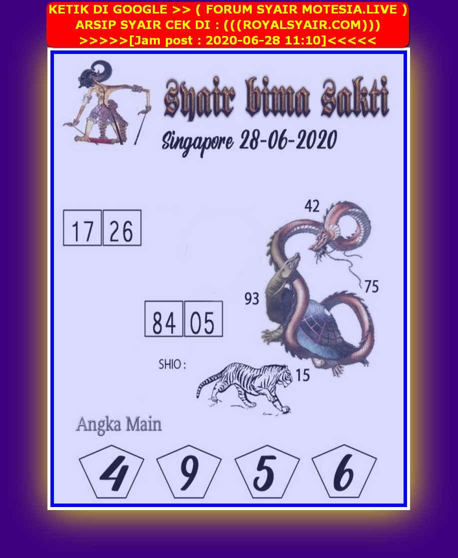 Kode syair Singapore Minggu 28 Juni 2020 154