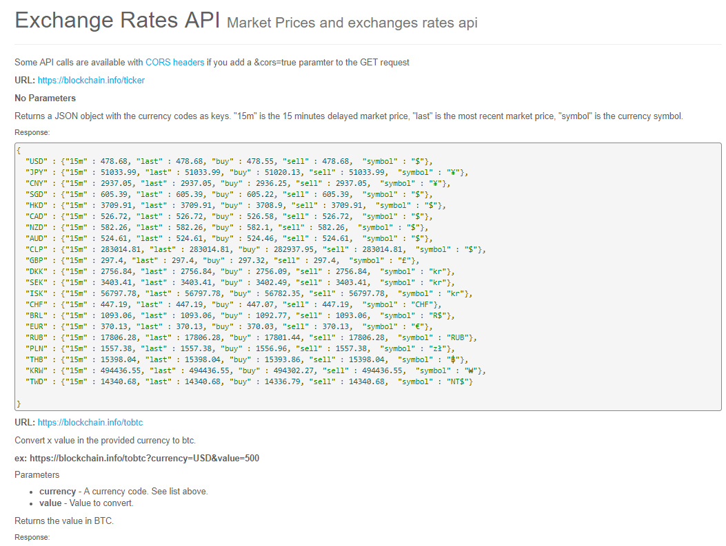 turtle: blockchain Exchange Rates API Market Prices and exchanges