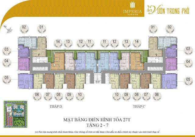 Mặt bằng căn hộ từ tầng 2 đến tầng 7