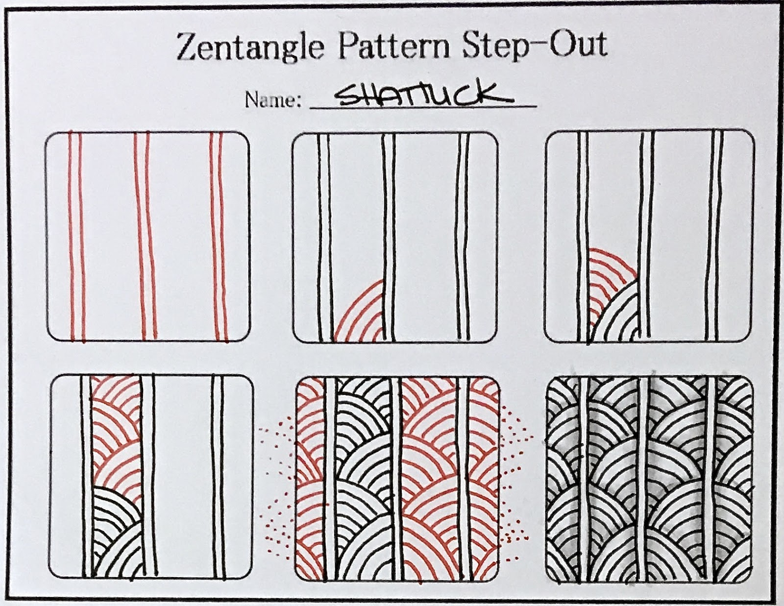 Tutorial how to draw the zentangle pattern shattuck for Drawing patterns for beginners