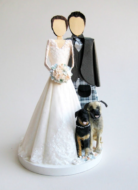 paper-wedding-couple-cake-topper-two-dogs