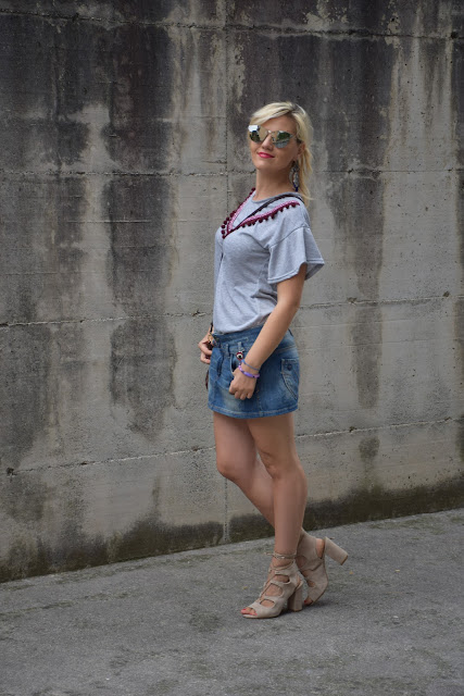outfit gonna jeans come abbinare la gonna di jeans abbinamenti gonna di jeans outfit luglio 2017 outfit estivi mariafelicia magno fashion blogger colorblock by felym fashion blog italiani blog di moda blogger italiane di moda