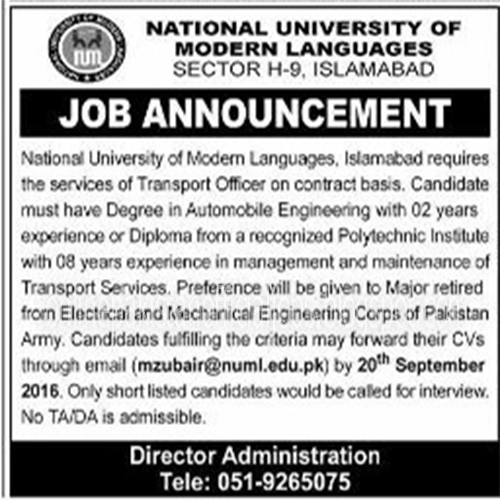 Transport Officer Jobs National Universiry of Modren Languahges