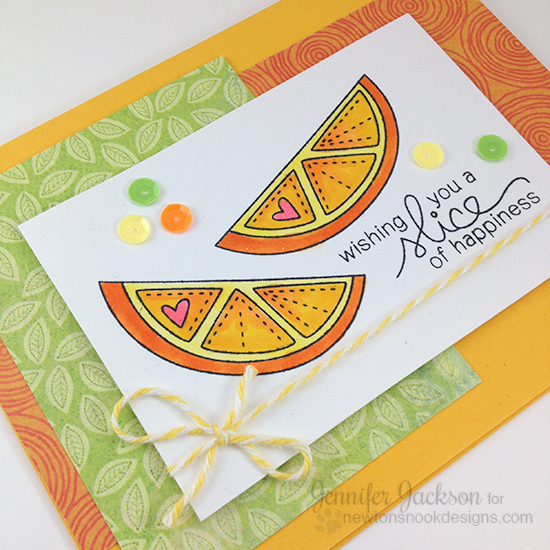 Slice of Happiness Orange Slice Card by Jennifer Jackson | Sweet Summer Stamp set by Newton's Nook Designs #newtonsnook