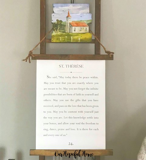 vintage farmhouse ladder church painting Saint Teresa quote canvas
