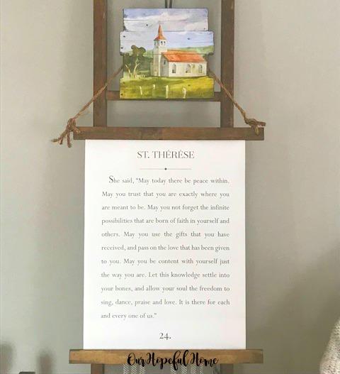 vintage farmhouse ladder church painting Saint Teresa quote canvas