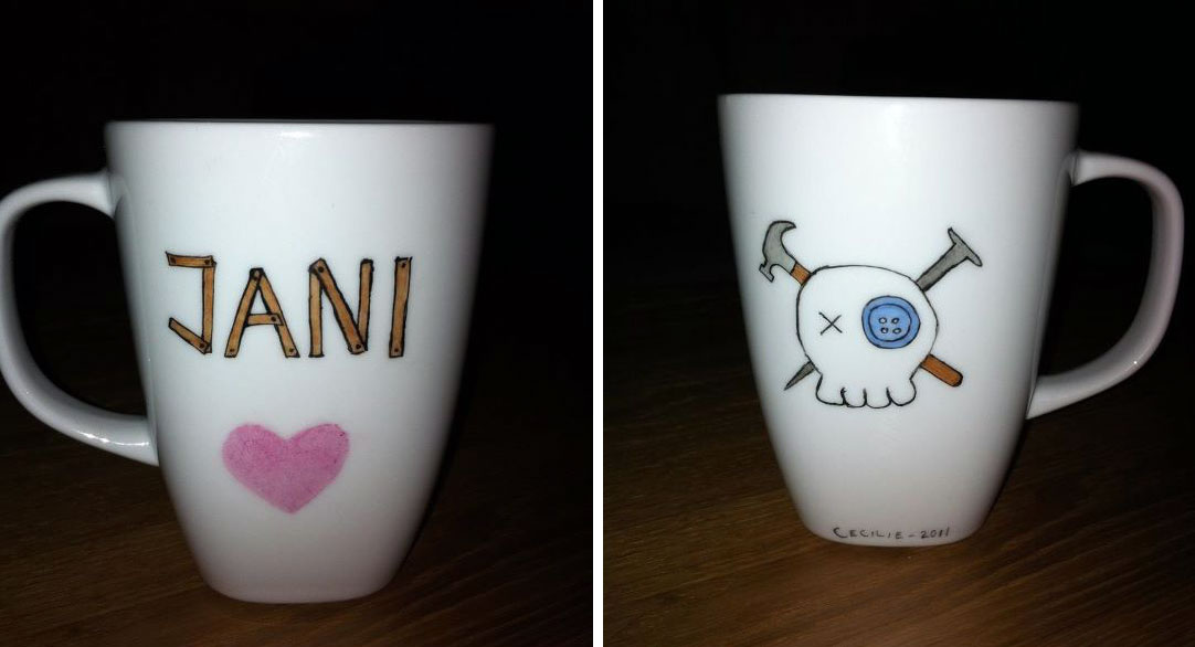 For My Brother His Wife My Sister Her Husband And My Mothers Husband I Hand Painted Some Mugs My Brother Is A Carpenter