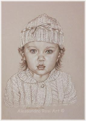 children's portraits, custom child portrait painting in sepia