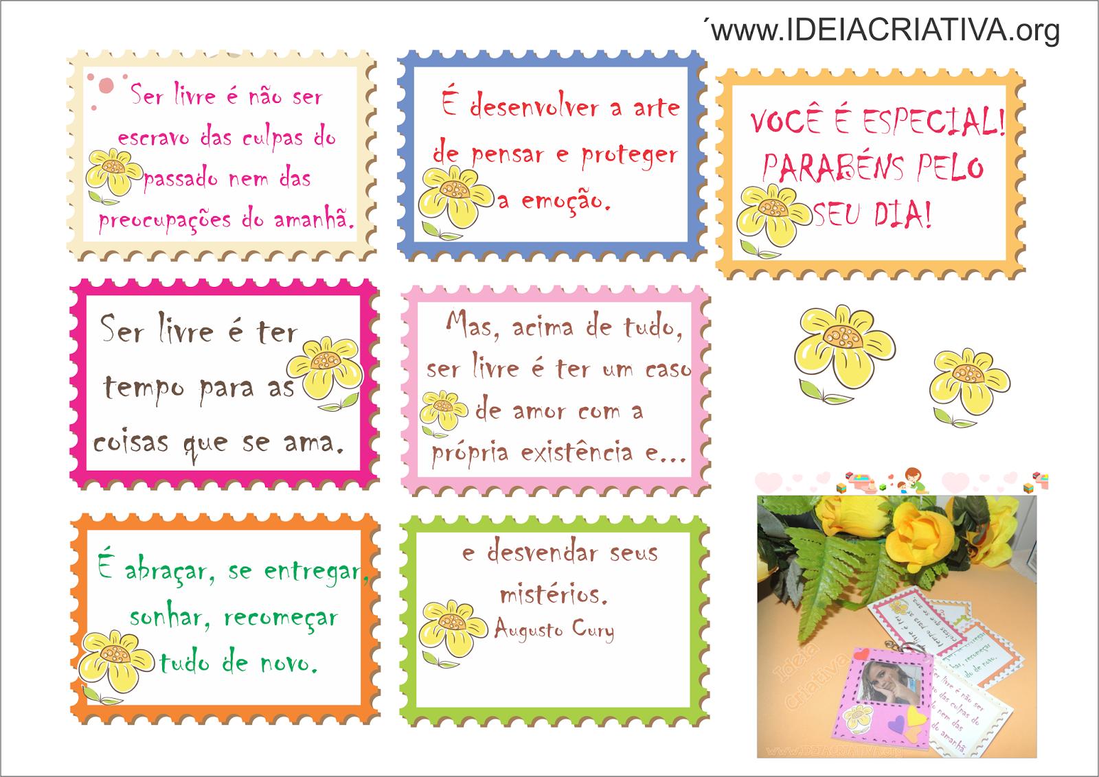 Dia das Mães Lembrancinha Chaveiro com Porta Retrato e Texto de Augusto Cury