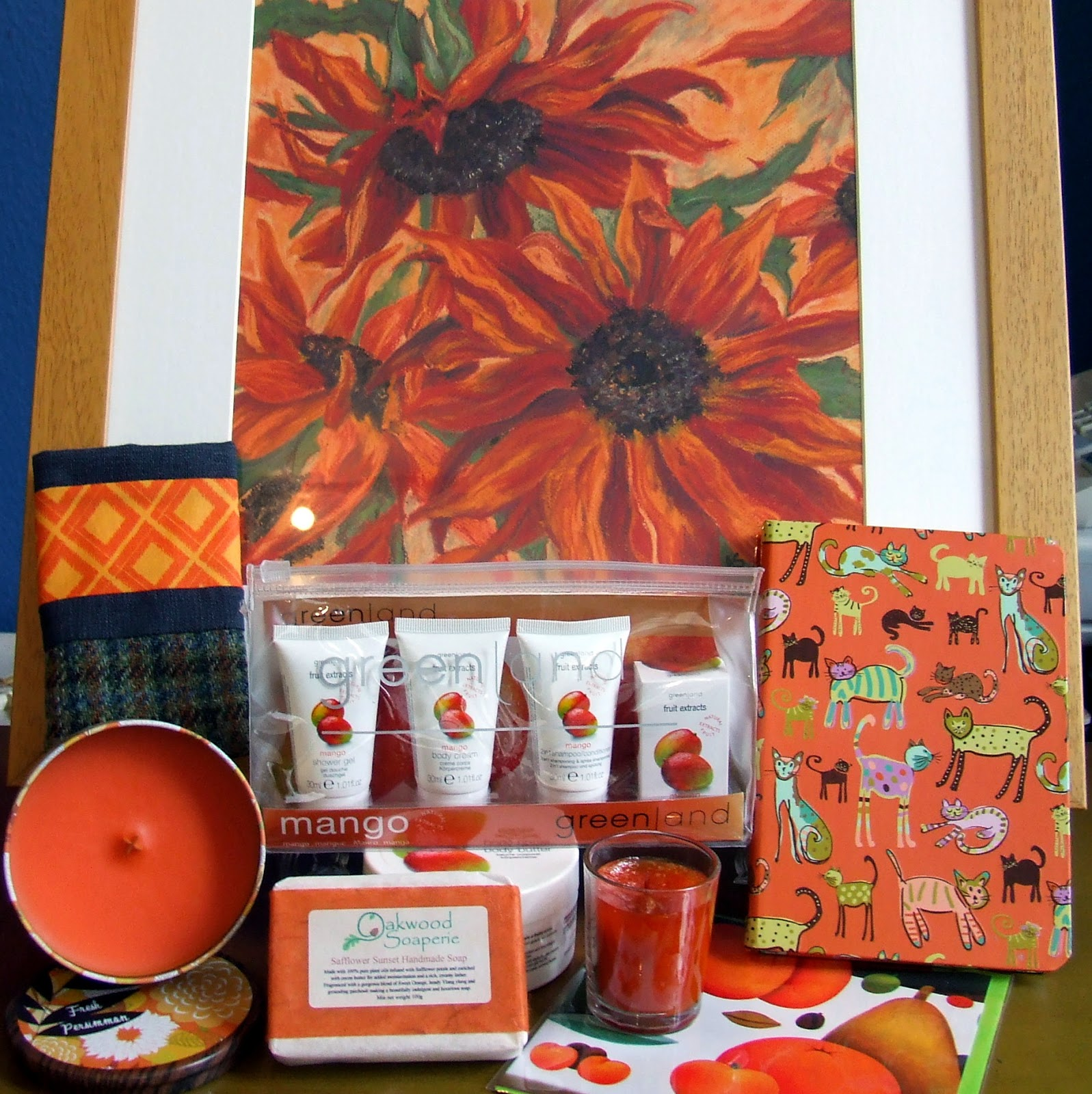 Selection of gifts in orange colour