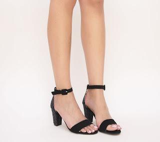 Sandale Kebeso Negre din piele intoarsa si cu gliter