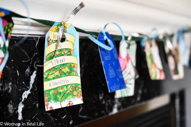 Gift tags made from old christmas cards