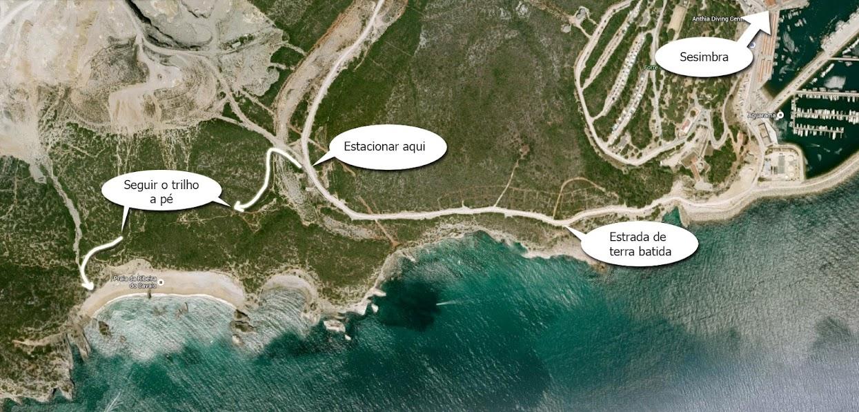 Mapa do acesso por terra à praia do Ribeiro do Cavalo