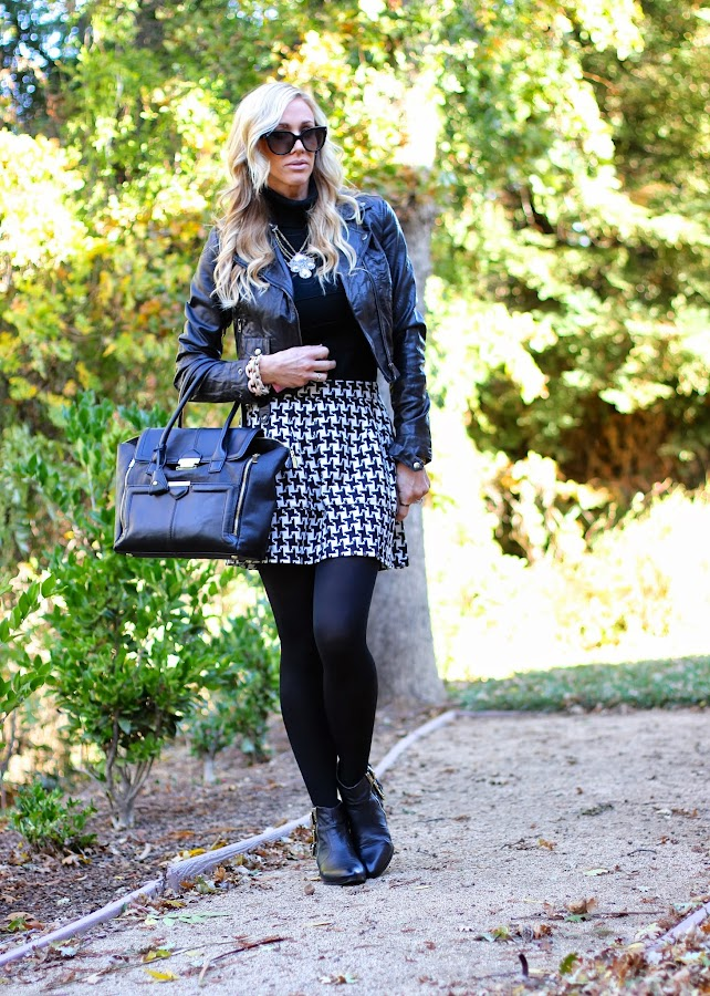 leather jacket tights and skirt
