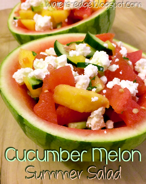 cucumber watermelon cantaloupe summer salad with feta cheese recipe